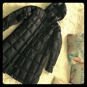 Black North Face Small feather puffer coat long